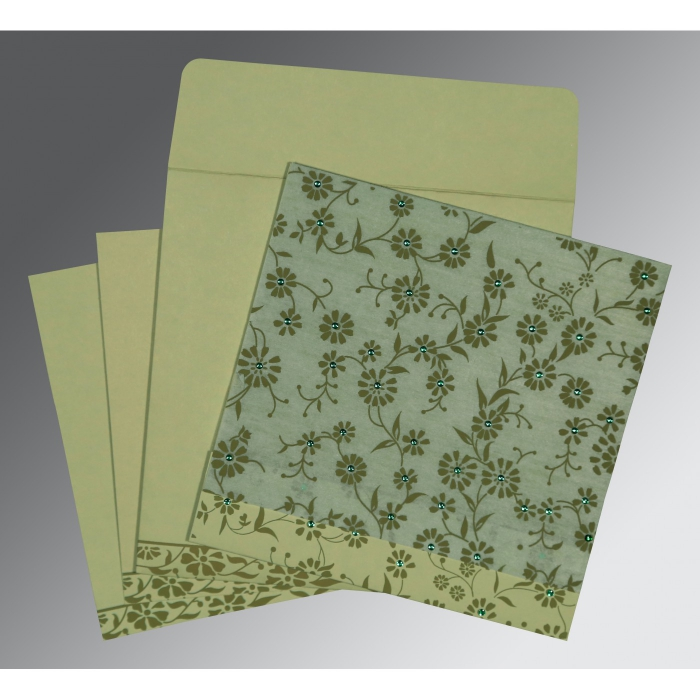 SAGE GREEN MATTE FLORAL THEMED - SCREEN PRINTED WEDDING CARD : AG-8222G - A2zWeddingCards
