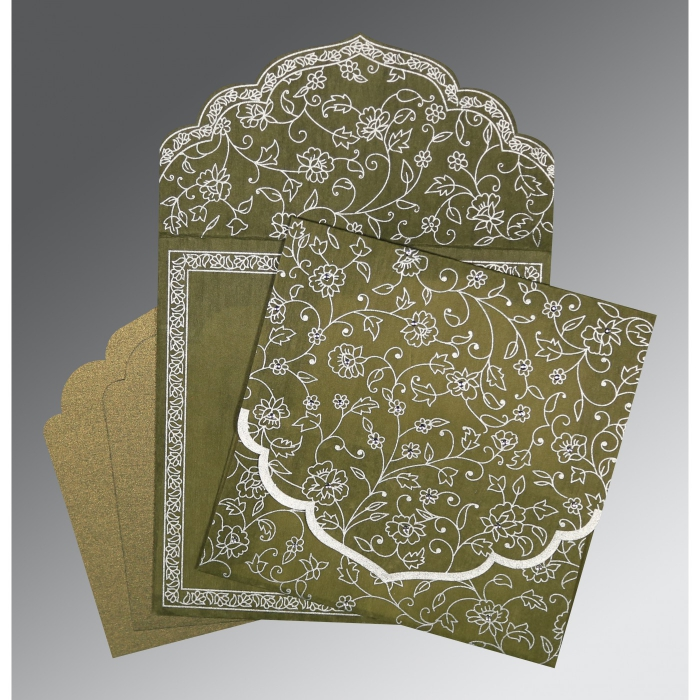 OLIVE GREEN WOOLY FLORAL THEMED - SCREEN PRINTED WEDDING INVITATION : AIN-8211M - A2zWeddingCards