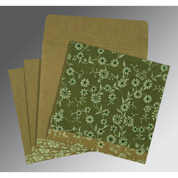 FERN GREEN MATTE FLORAL THEMED - SCREEN PRINTED WEDDING CARD : ARU-8222D - A2zWeddingCards