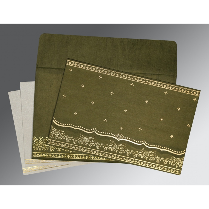 Foil Stamped Wedding Invitations: DARK OLIVE GREEN WOOLY FOIL STAMPED WEDDING INVITATION