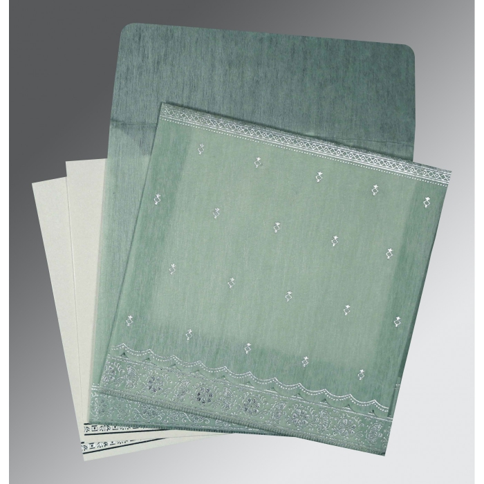 SAGE GREEN WOOLY FOIL STAMPED WEDDING CARD : AD-8242K - A2zWeddingCards