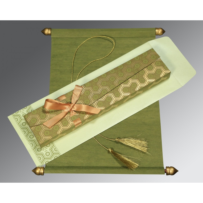 GREEN WOOLY WEDDING CARD : ASC-5014A - A2zWeddingCards