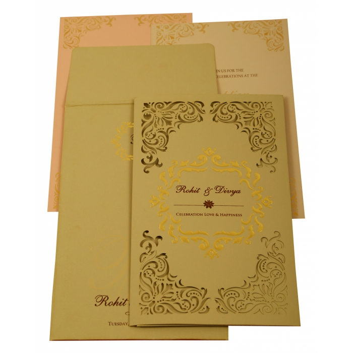 Grey Matte Laser Cut Wedding Invitation : AW-1908