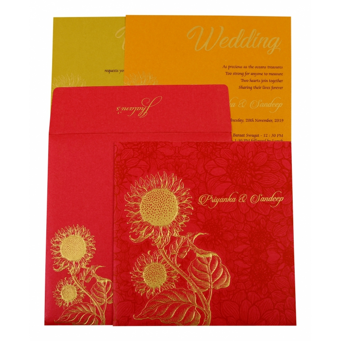 Hot Pink Shimmery Floral Themed - Embossed Wedding Invitation : AD-1898 - A2zWeddingCards