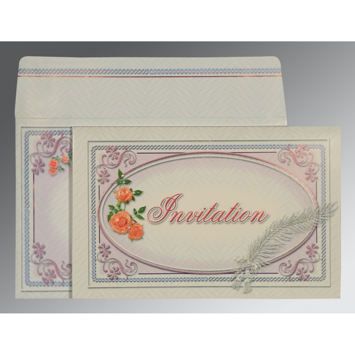Ivory Embossed Wedding Card : ARU-1327 - A2zWeddingCards