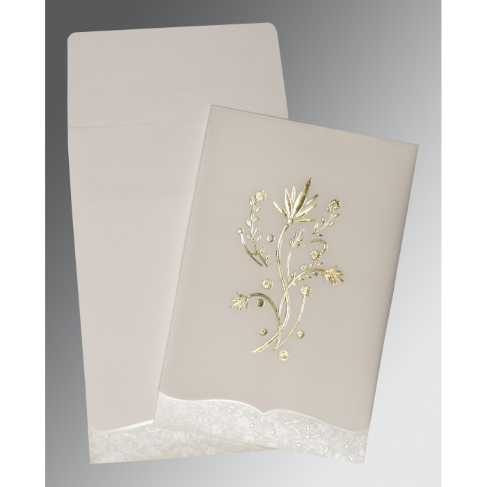 OFF-WHITE FLORAL THEMED - FOIL STAMPED WEDDING CARD : ARU-1495 - A2zWeddingCards