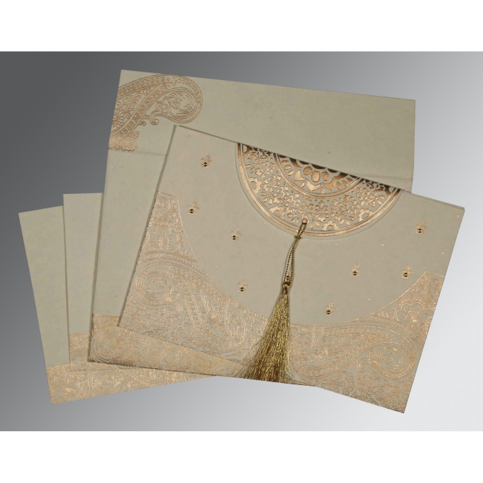 IVORY HANDMADE COTTON EMBOSSED WEDDING CARD : AI-8234B - A2zWeddingCards