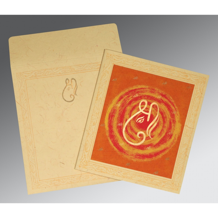 BEIGE ORANGE HANDMADE COTTON EMBOSSED WEDDING CARD : AW-2162 - A2zWeddingCards