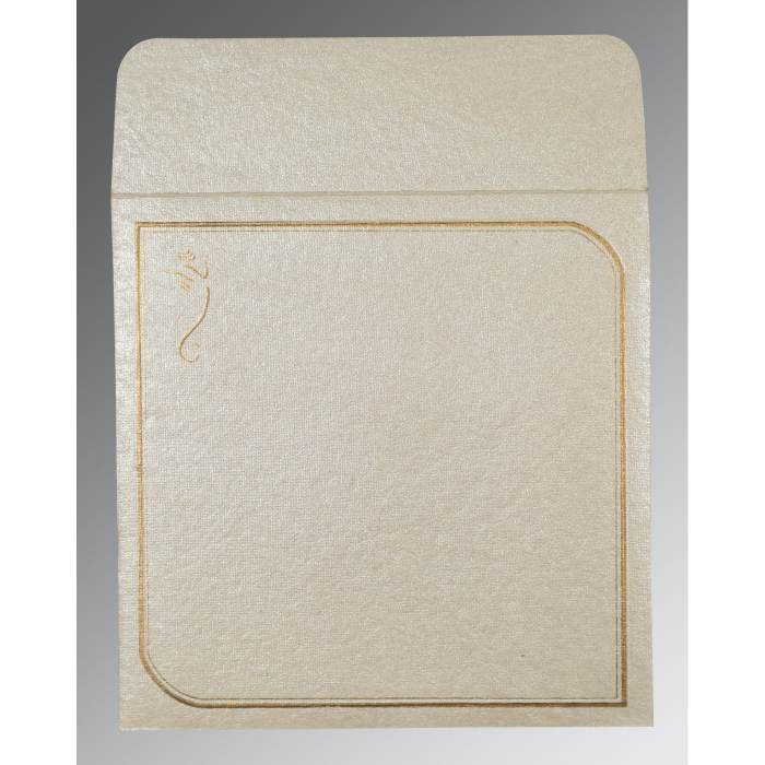 Ivory Handmade Shimmer Foil Stamped Wedding Card : AIN-2235 - A2zWeddingCards