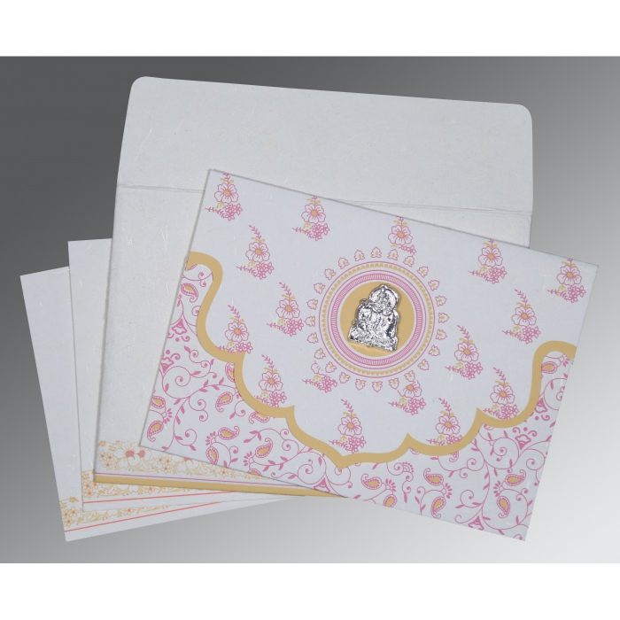 Ivory Handmade Silk Screen Printed Wedding Invitations : AG-8207I - A2zWeddingCards