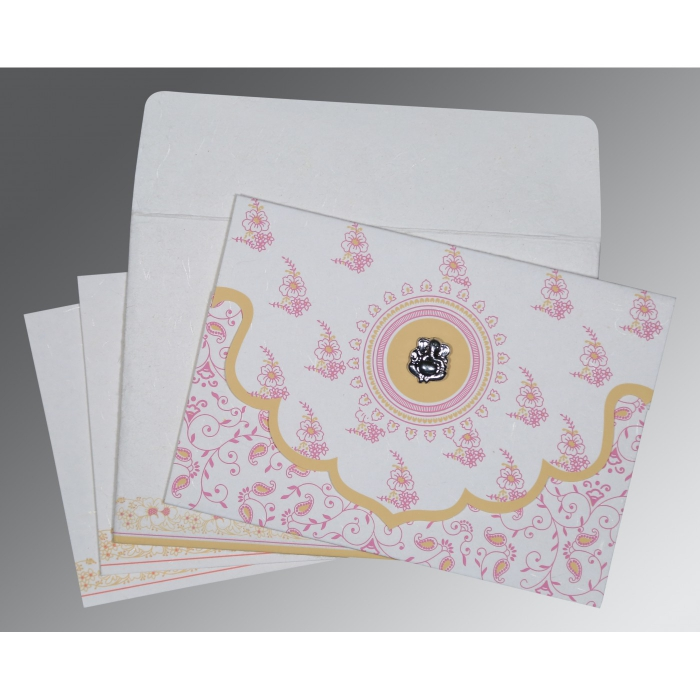 Ivory Handmade Silk Screen Printed Wedding Invitations : AIN-8207I - A2zWeddingCards