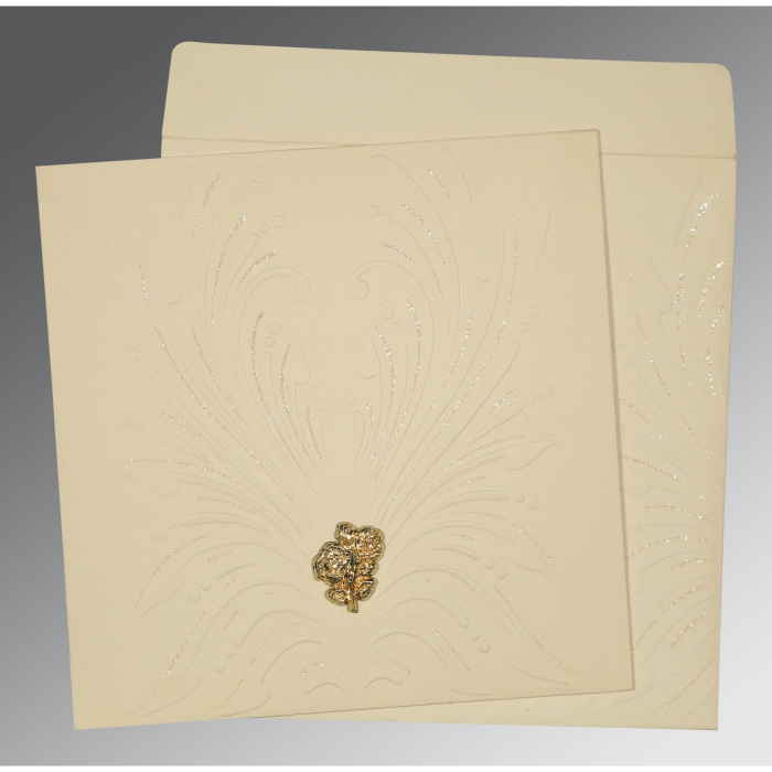 Ivory Matte Embossed Wedding Invitation : AC-1188 - A2zWeddingCards