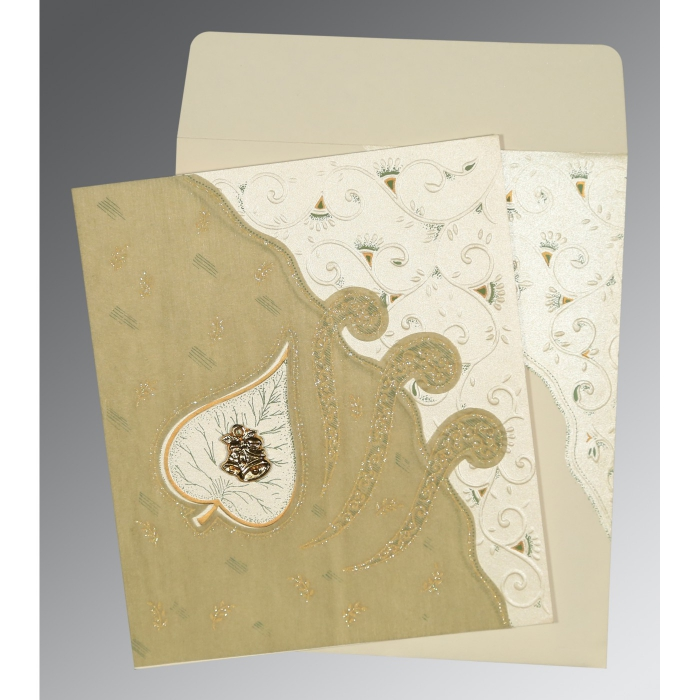 Ivory Matte Embossed Wedding Invitation : AC-1197