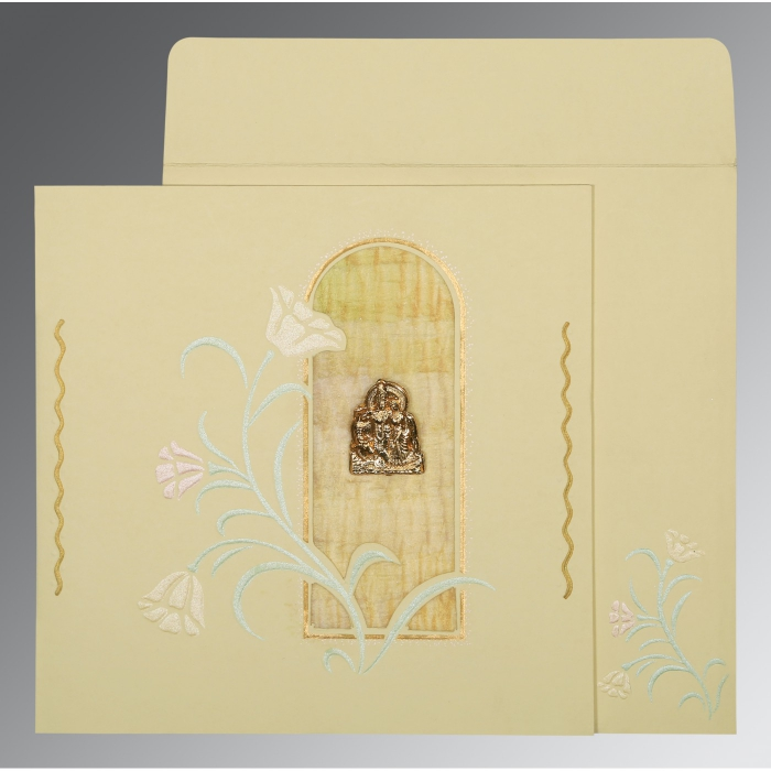 Ivory Matte Embossed Wedding Card : AG-1203 - A2zWeddingCards