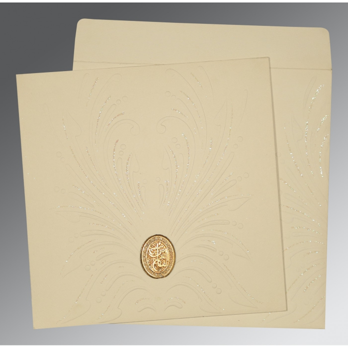 Ivory Matte Embossed Wedding Invitations : AI-1188 - A2zWeddingCards