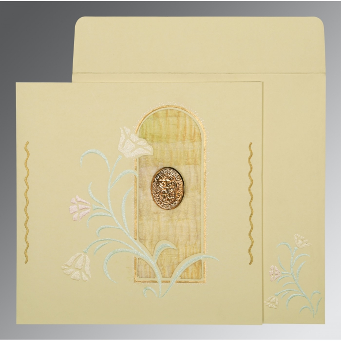 CREAM MATTE EMBOSSED WEDDING CARD : AI-1203 - A2zWeddingCards