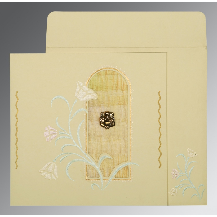 CREAM MATTE EMBOSSED WEDDING CARD : AIN-1203 - A2zWeddingCards