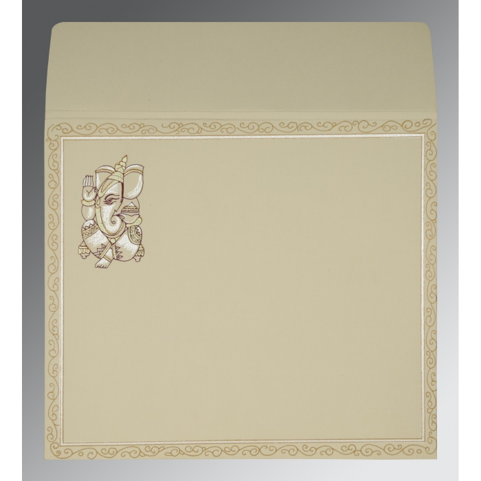 CREAM MATTE EMBOSSED WEDDING CARD : AIN-2005 - A2zWeddingCards