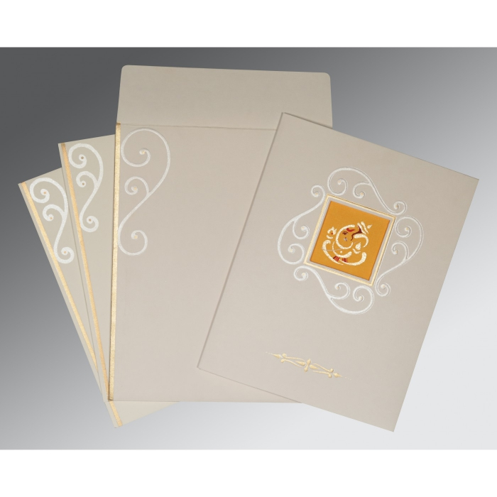 OFF-WHITE MATTE EMBOSSED WEDDING INVITATION : AIN-2116 - A2zWeddingCards