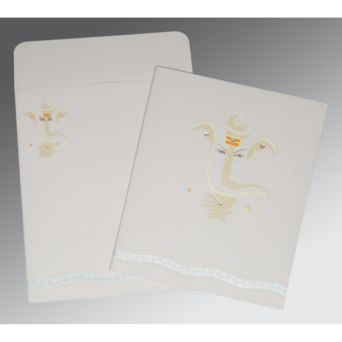 OFF-WHITE MATTE EMBOSSED WEDDING CARD : AIN-2169 - A2zWeddingCards