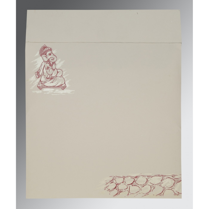 Ivory Matte Embossed Wedding Card : AIN-2201 - A2zWeddingCards