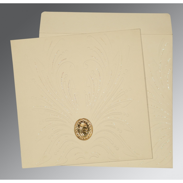 IVORY MATTE EMBOSSED WEDDING INVITATION : AS-1188 - A2zWeddingCards