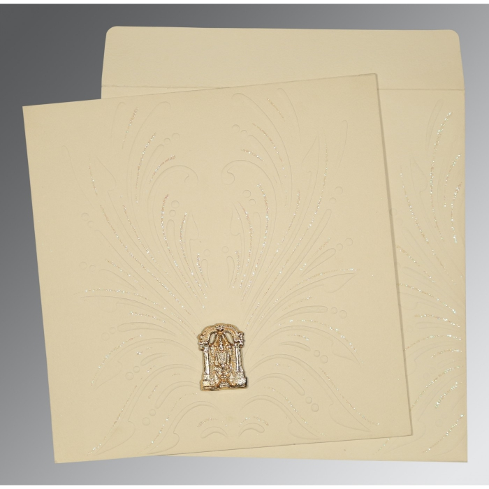 Ivory Matte Embossed Wedding Invitation : ASO-1188 - A2zWeddingCards
