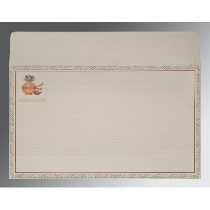 OFF-WHITE MATTE EMBOSSED WEDDING CARD : AW-2077 - A2zWeddingCards