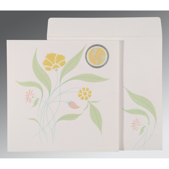 OFF-WHITE MATTE FLORAL THEMED - EMBOSSED WEDDING INVITATION : AG-1114 - A2zWeddingCards