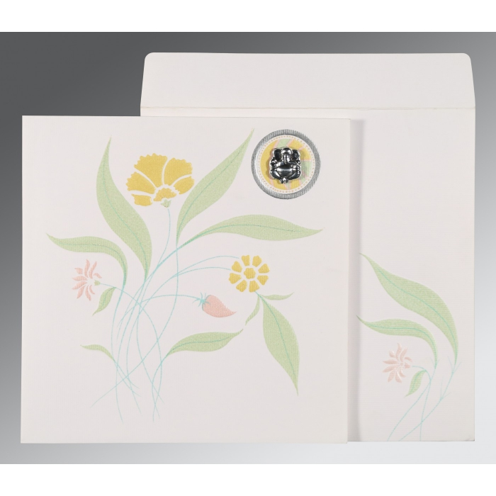 OFF-WHITE MATTE FLORAL THEMED - EMBOSSED WEDDING INVITATION : AIN-1114 - A2zWeddingCards