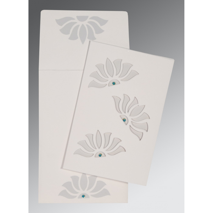 Ivory Matte Floral Themed - Screen Printed Wedding Invitation : AD-1254 - A2zWeddingCards