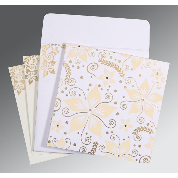 Ivory Matte Floral Themed - Screen Printed Wedding Invitations : AG-8240D - A2zWeddingCards