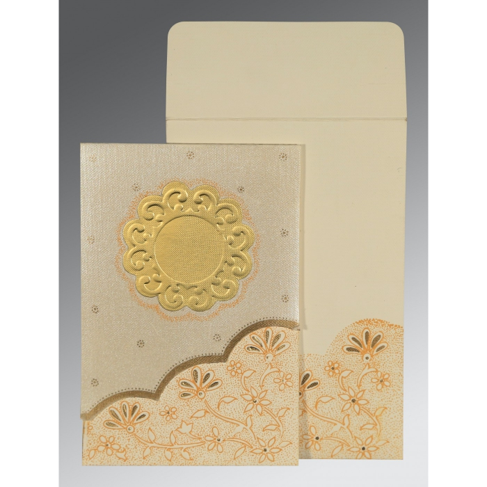 Ivory Matte Floral Themed - Screen Printed Wedding Card : AIN-1183 - A2zWeddingCards