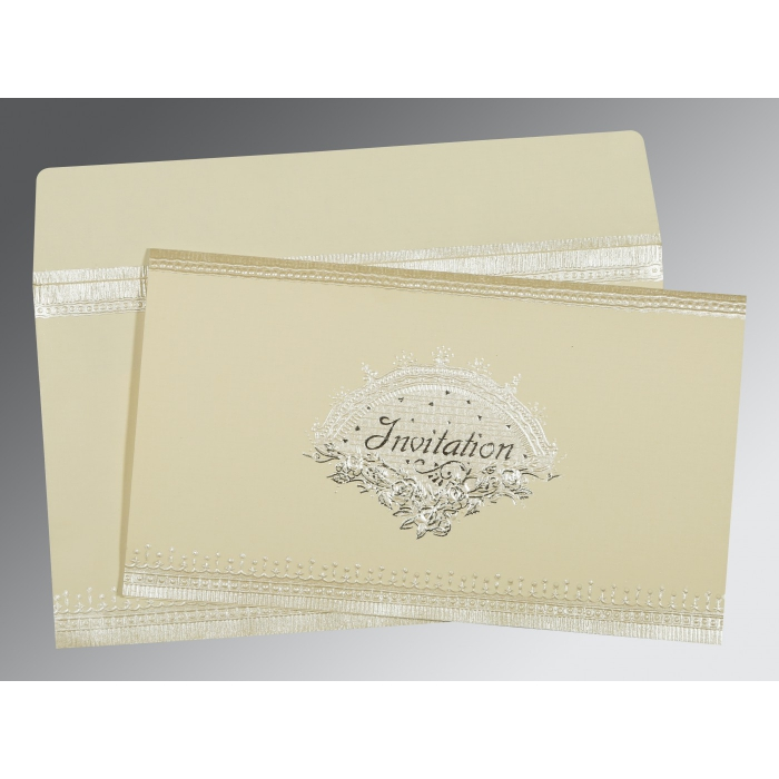 Ivory Matte Foil Stamped Wedding Invitations : AD-1338 - A2zWeddingCards
