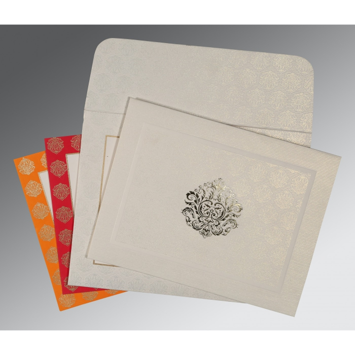 WHITE MATTE FOIL STAMPED WEDDING CARD : AG-1502 - A2zWeddingCards