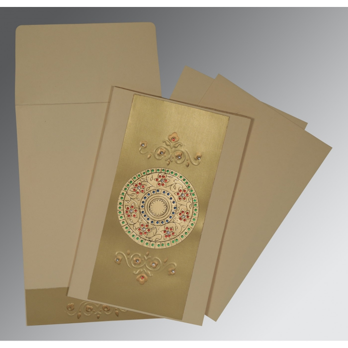 BEIGE GOLD MATTE FOIL STAMPED WEDDING CARD : ARU-1407 - A2zWeddingCards