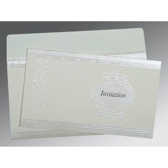 OFF-WHITE MATTE FOIL STAMPED WEDDING CARD : ASO-1328 - A2zWeddingCards