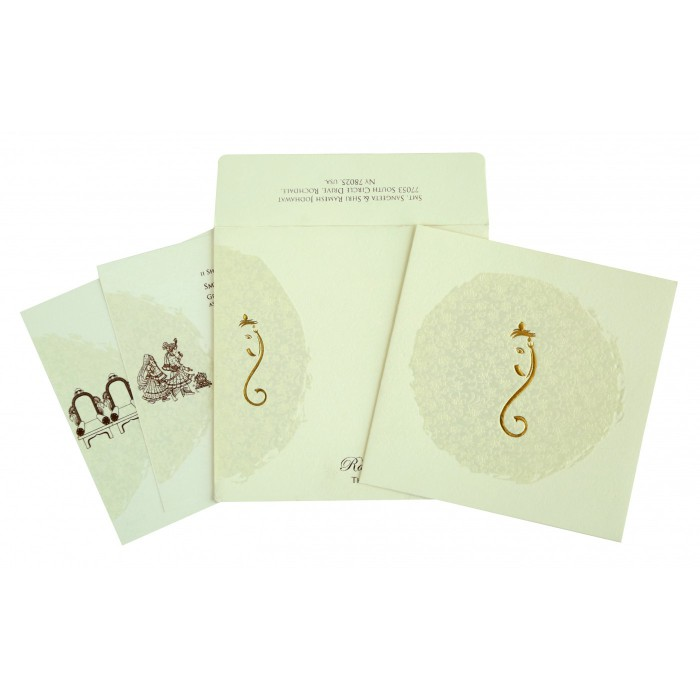 Ivory Matte Foil Stamped Wedding Invitation : AW-2297 - A2zWeddingCards