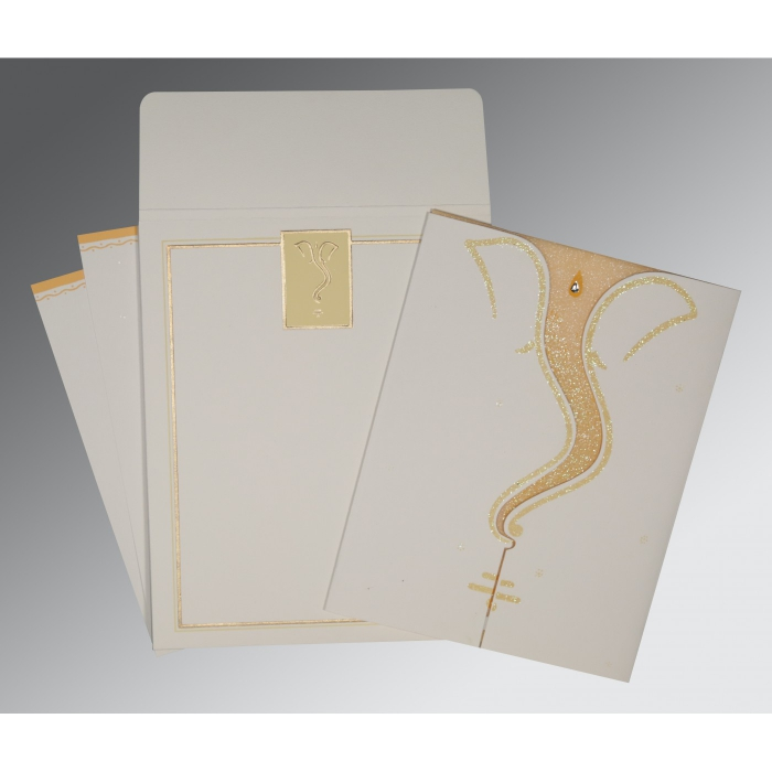 Ivory Matte Glitter Wedding Card : AW-2103 - A2zWeddingCards