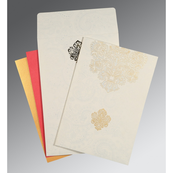 Ivory Matte Paisley Themed - Screen Printed Wedding Invitation : AD-1508 - A2zWeddingCards