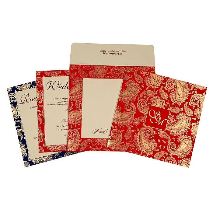 Ivory Matte Paisley Themed - Screen Printed Wedding Invitation : AS-1698 - A2zWeddingCards