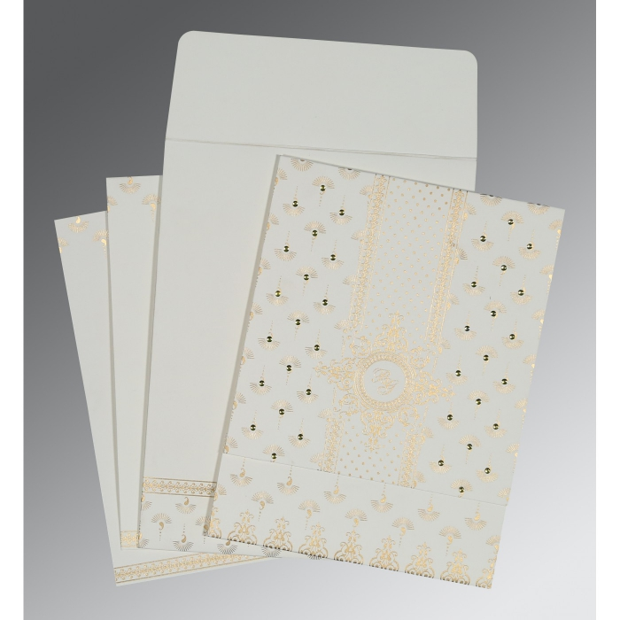 Ivory Matte Screen Printed Wedding Invitation : AI-8247M - A2zWeddingCards