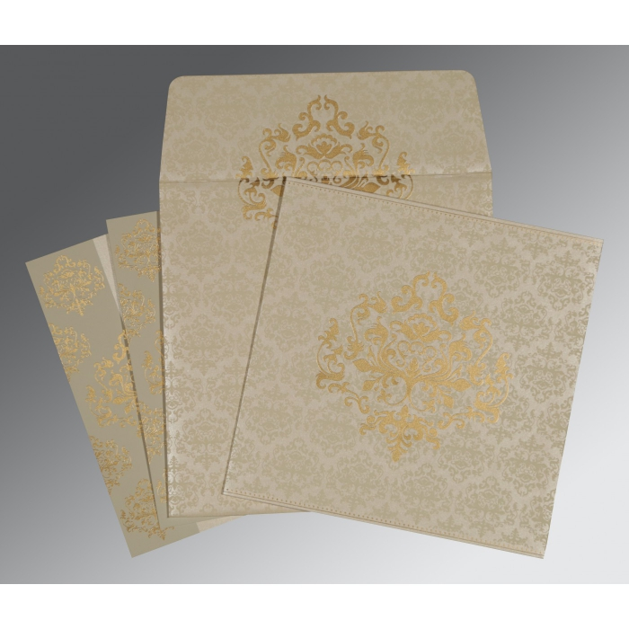 Ivory Shimmery Damask Themed - Screen Printed Wedding Card : AD-8254A - A2zWeddingCards
