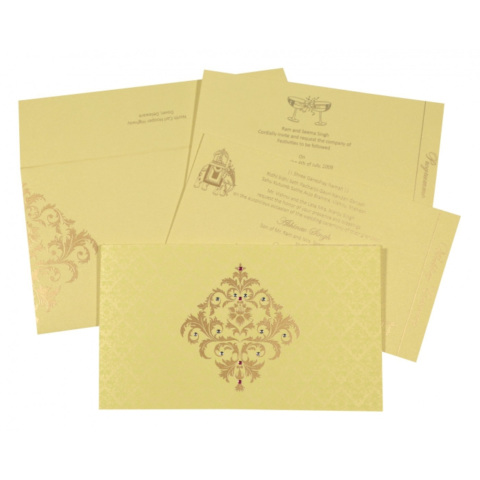 KHAKI SHIMMERY DAMASK THEMED - SCREEN PRINTED WEDDING CARD : ARU-8257B - A2zWeddingCards