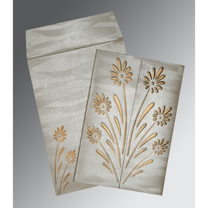 Ivory Shimmery Floral Themed - Embossed Wedding Invitations : AC-1378 - A2zWeddingCards