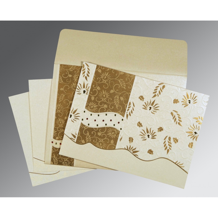 Ivory Shimmery Floral Themed - Embossed Wedding Invitations : AW-8236B - A2zWeddingCards