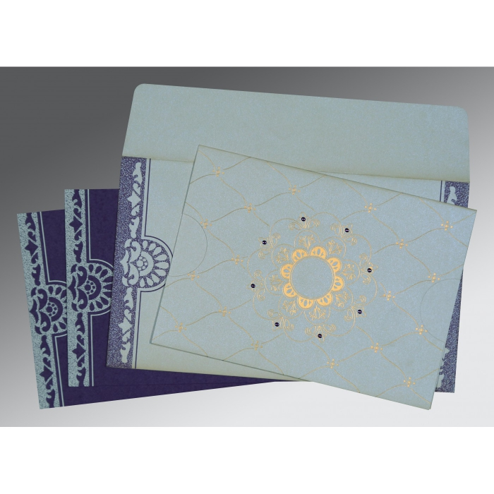 OFF-WHITE SHIMMERY FLORAL THEMED - SCREEN PRINTED WEDDING CARD : AD-8227E - A2zWeddingCards