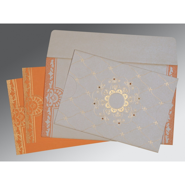 OFF-WHITE SHIMMERY FLORAL THEMED - SCREEN PRINTED WEDDING CARD : AG-8227D - A2zWeddingCards