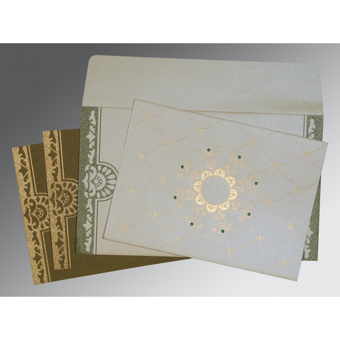 OFF-WHITE SHIMMERY FLORAL THEMED - SCREEN PRINTED WEDDING CARD : AG-8227F - A2zWeddingCards