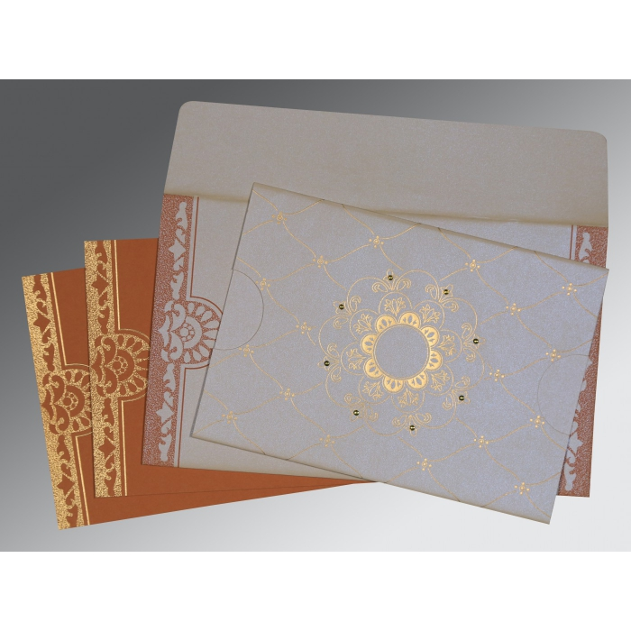 OFF-WHITE SHIMMERY FLORAL THEMED - SCREEN PRINTED WEDDING CARD : AG-8227L - A2zWeddingCards